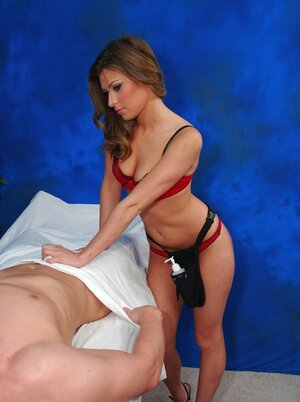 Delightful lady starts massage with dick-rubbing turning user on