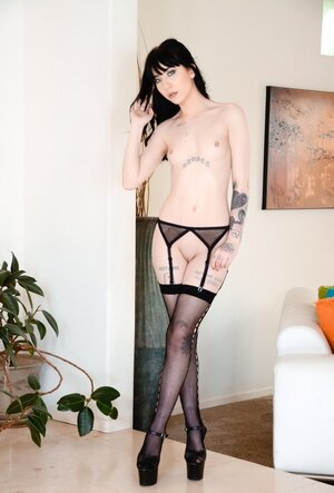 Raven-haired chick in stockings has little tits and furthermore big sexual appetite