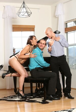 Immature woman can't stop enjoying piano player and tempts him plus hubby