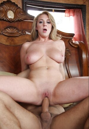Blonde with drenched tits Brooke Wylde has fun with neighbor on her husband's bed
