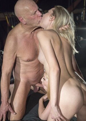 Hot yummy sex of two fine blondes and besides their filthified grown-up stepfather