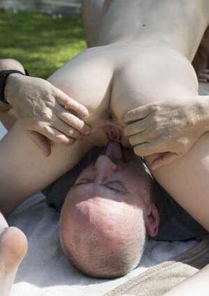 Nude broads ready for a sex adventure with older stranger in the park