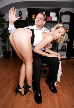 Girl with glasses made a mistake and boss has to spank her in office