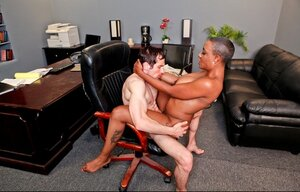 Short-haired Ebony teacher with love bubbles banged by white stud in class