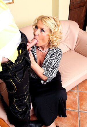 Insatiable old blonde Regi loves to blow off and ride immature boner on the sofa