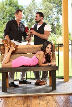 Babe in a pink dress makes boyfriend drink wine with mate to see them kissing