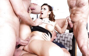Three lads arrange gangbang for naughty dame filling her up with cum