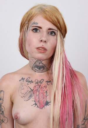 Aroused tattooed Czech 18-19 year old Jirina with no jugs needs attention and strips