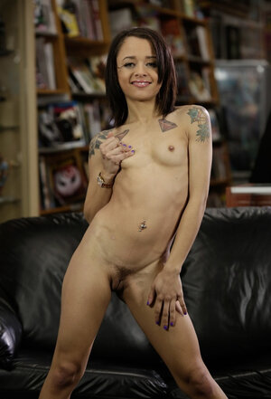 Visit in the library ends for fragile Latina minx with strip show on the sofa